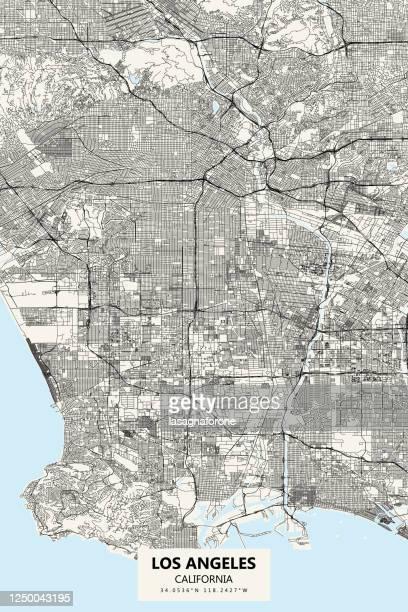 los angeles california vector map - los angeles stock illustrations