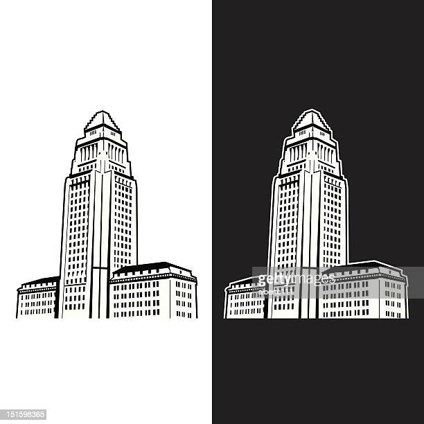 los angeles capital building - midi pyrénées stock illustrations, clip art, cartoons, & icons