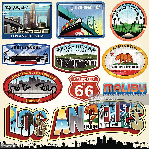 los angeles - city of angels - travel tag stock illustrations, clip art, cartoons, & icons