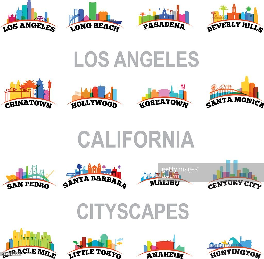 Los Angeles Cityscapes : stock illustration