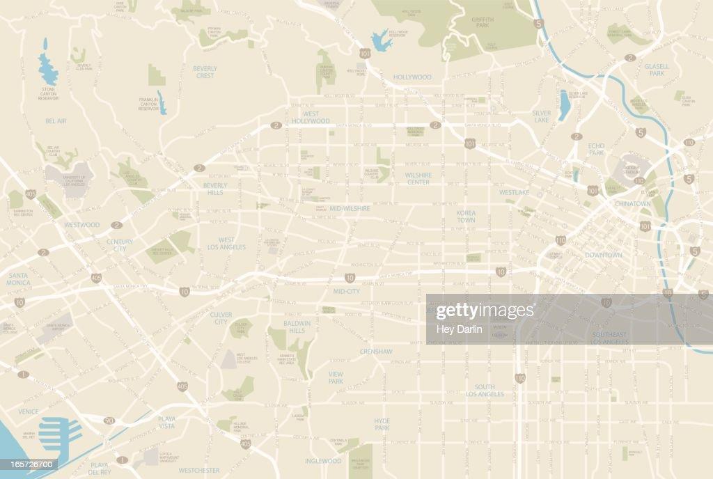 Los Angeles Map : stock illustration