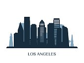 Los Angeles skyline, monochrome silhouette. Vector illustration.