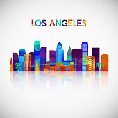 Los Angeles skyline silhouette in colorful geometric style. Symbol for your design. Vector illustration.