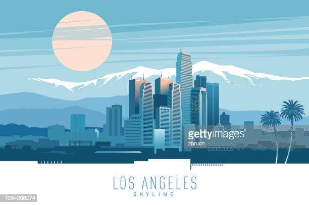 skyline von los angeles. - horizontal stock-grafiken, -clipart, -cartoons und -symbole