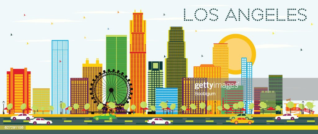 Los Angeles Skyline with Color Buildings and Blue Sky.