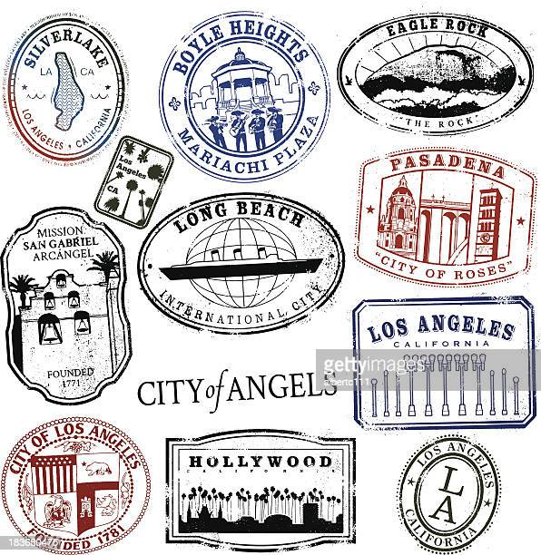 los angeles stamp series vintage - long beach california stock illustrations, clip art, cartoons, & icons
