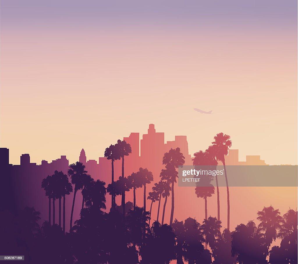 Los Angeles Sonnenuntergang-Szene mit Palmen : Stock-Illustration