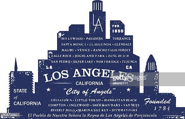 Los Angeles Typo Silhouette Stamp