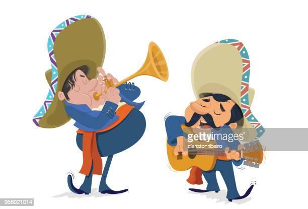 ilustraciones, imágenes clip art, dibujos animados e iconos de stock de los mariachis - mariachi