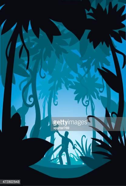 illustrations, cliparts, dessins animés et icônes de perdu dans la jungle foncé - plante tropicale