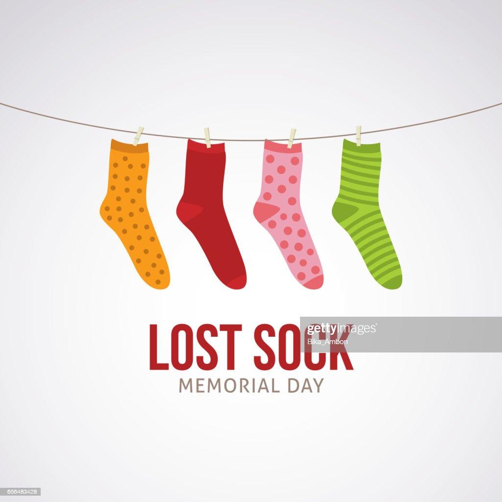 Lost Sock Memorial Day Vector Illustration.