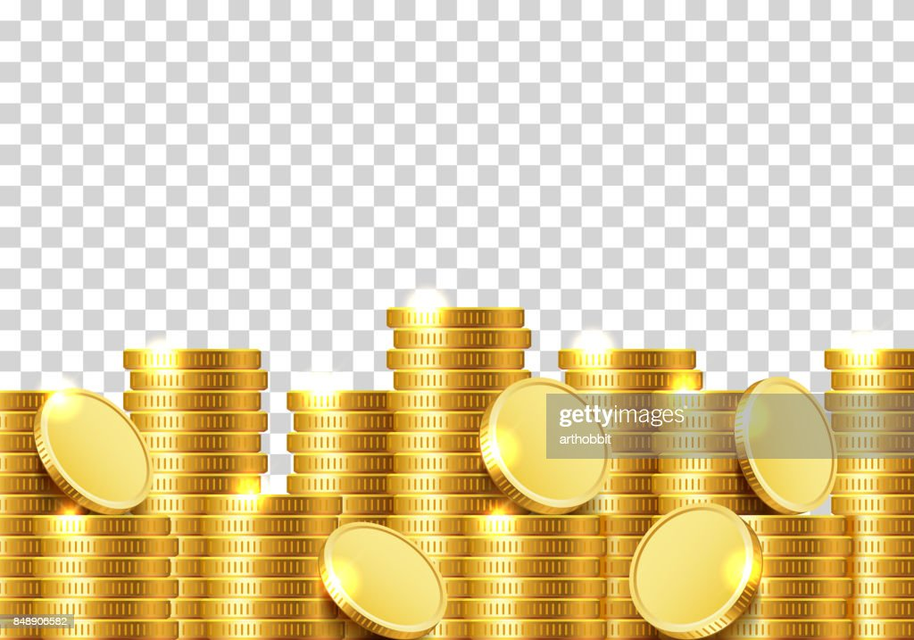 A lot of coins on a transparent background.