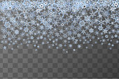 A lot of cute blue snowflakes, horizontal frozen pattern on transparent