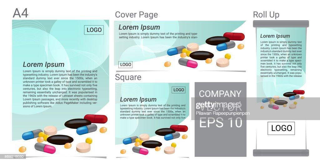 A lot of pill text banner vector set