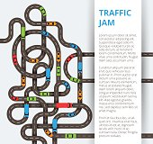 A lot of winding roads with colorful cars and trucks. Traffic co