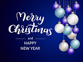 A lot of xmas balls on a blue background. Merry Christmas lettering. Vector illustation
