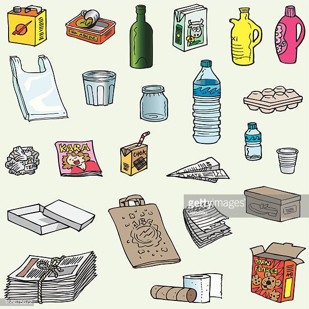 lots of objects to recycle - crumpled stock illustrations