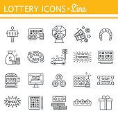 Lottery and profit fortune games black icon set isolated