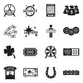 Lottery Icons. Black Flat Design. Vector Illustration.
