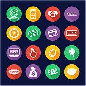 Lottery Icons Flat Design Circle