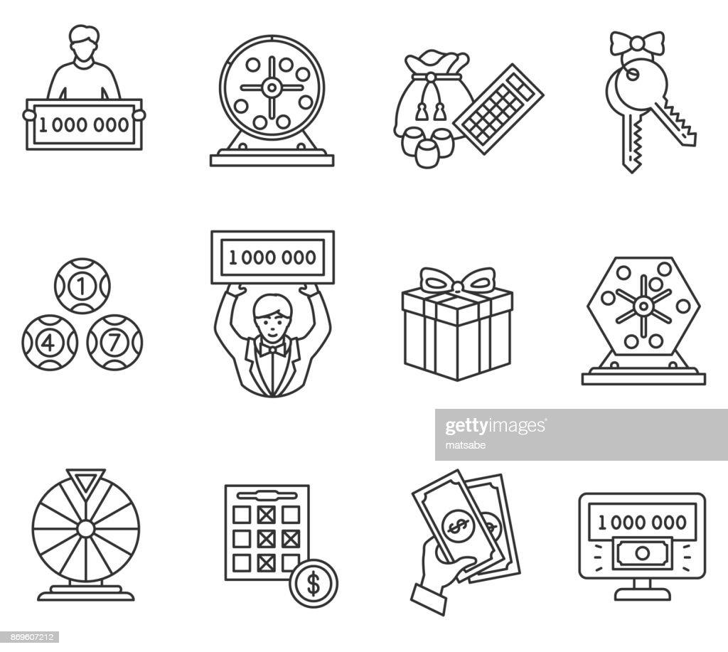 Lottery icons set. Editable stroke