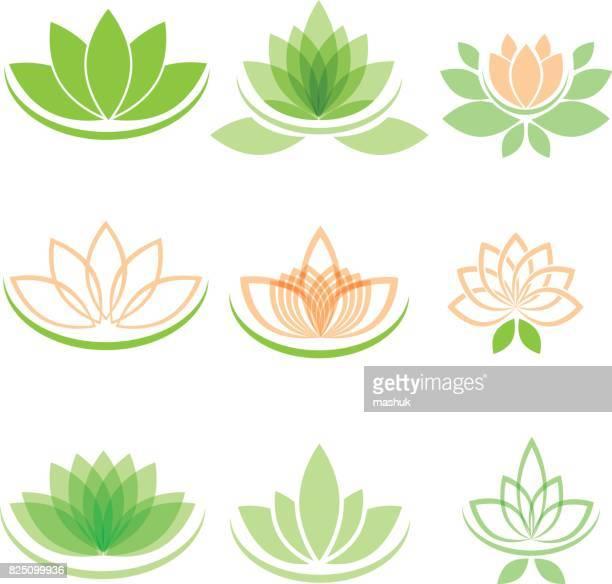 lotus and yoga - lotus position stock illustrations