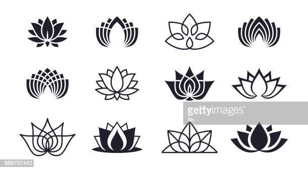 lotus blossoms - wellbeing stock illustrations