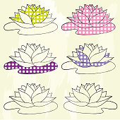 lotus collection, hand drown lotus with dotted fill, vector lotu