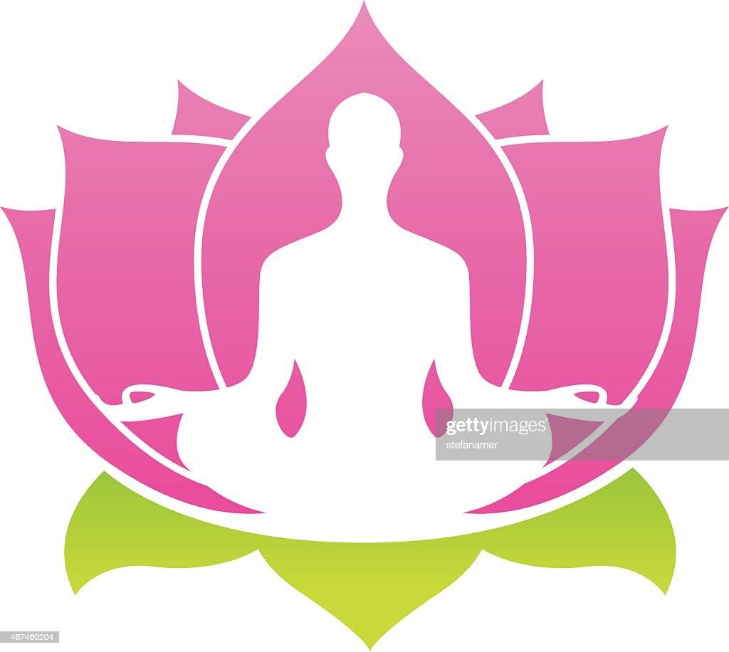 Lotus Flower Abstract Vector Logo Yoga Asana Illustration Vector Art