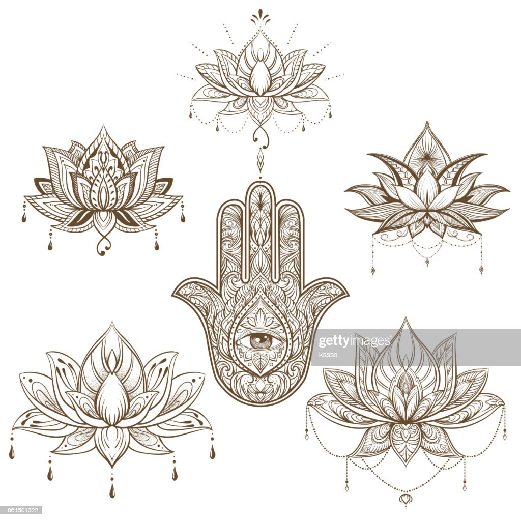 Lotus Flower And Hamsa Set Vector Boho Style Yoga India Arabic