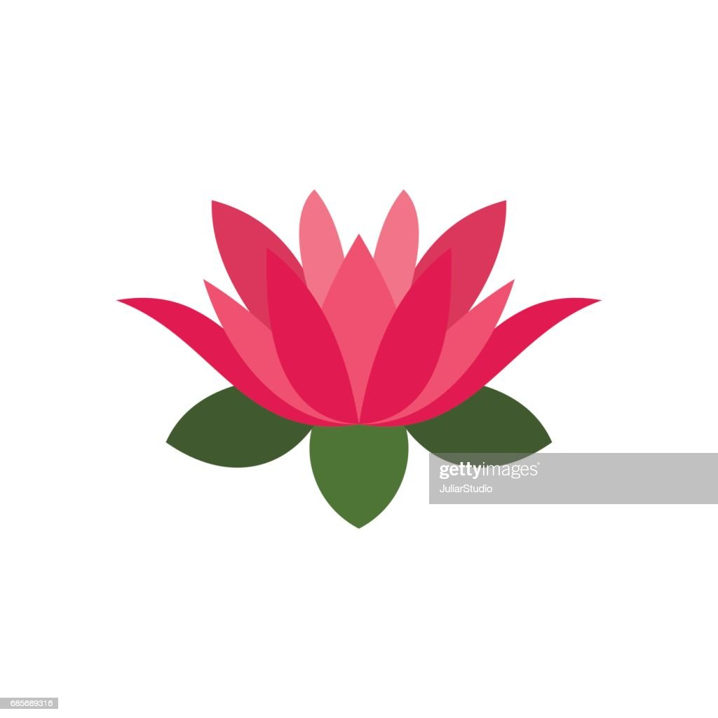 Lotus Flower Icon Flat Style Vector Art Getty Images
