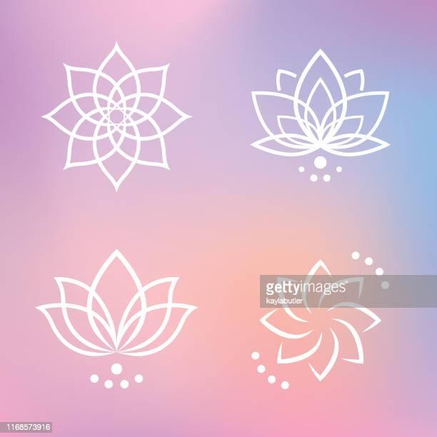 lotus flower icon set - buddhism stock illustrations