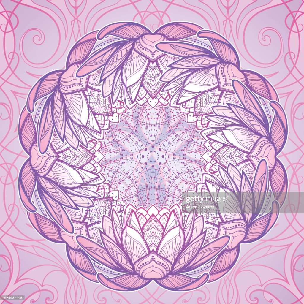 Lotus Flower Intricate Stylized Linear Drawing Isolated On Pattern