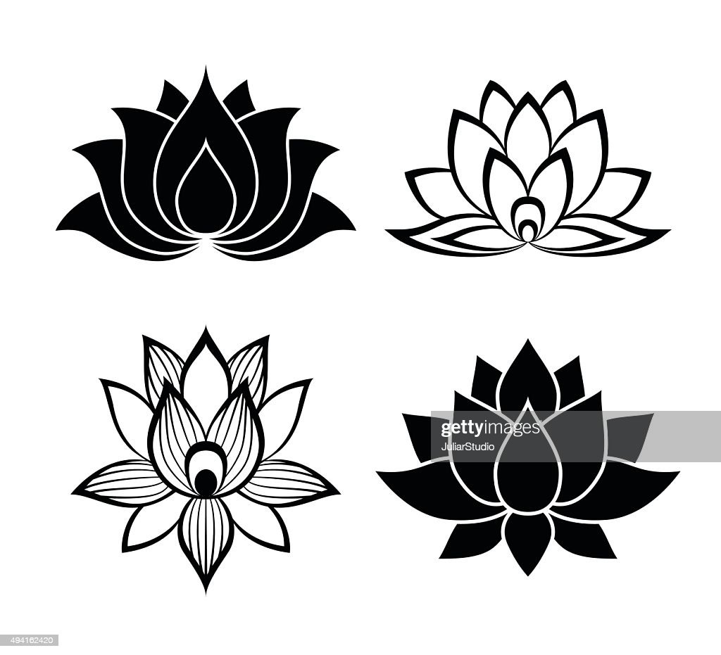 Lotus flower signs set