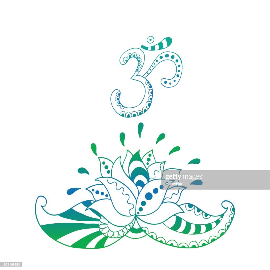 Lotus flower silhouette and symbol om water lily vector art getty lotus flower silhouette and symbol om water lily vector art mightylinksfo