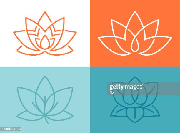 stockillustraties, clipart, cartoons en iconen met lotus bloem symbolen - bloesem