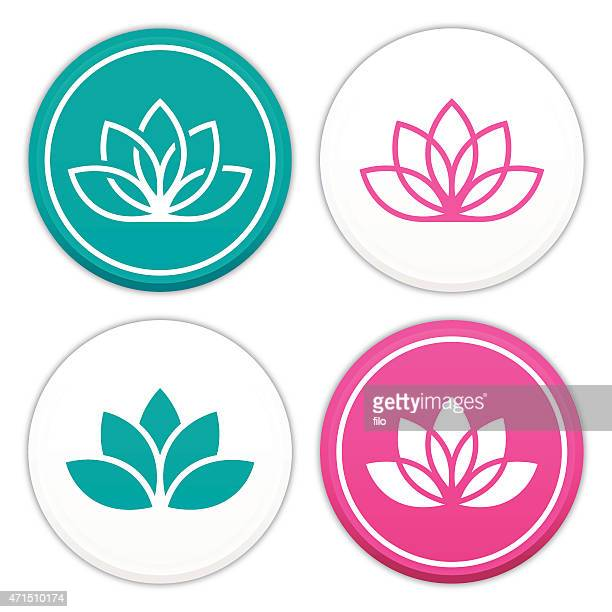 lotus flower symbols - single flower stock illustrations