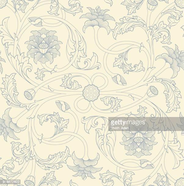 ilustraciones, imágenes clip art, dibujos animados e iconos de stock de patrón de zarcillo de flores de loto (versión de dos colores de línea de arte) - enredadera