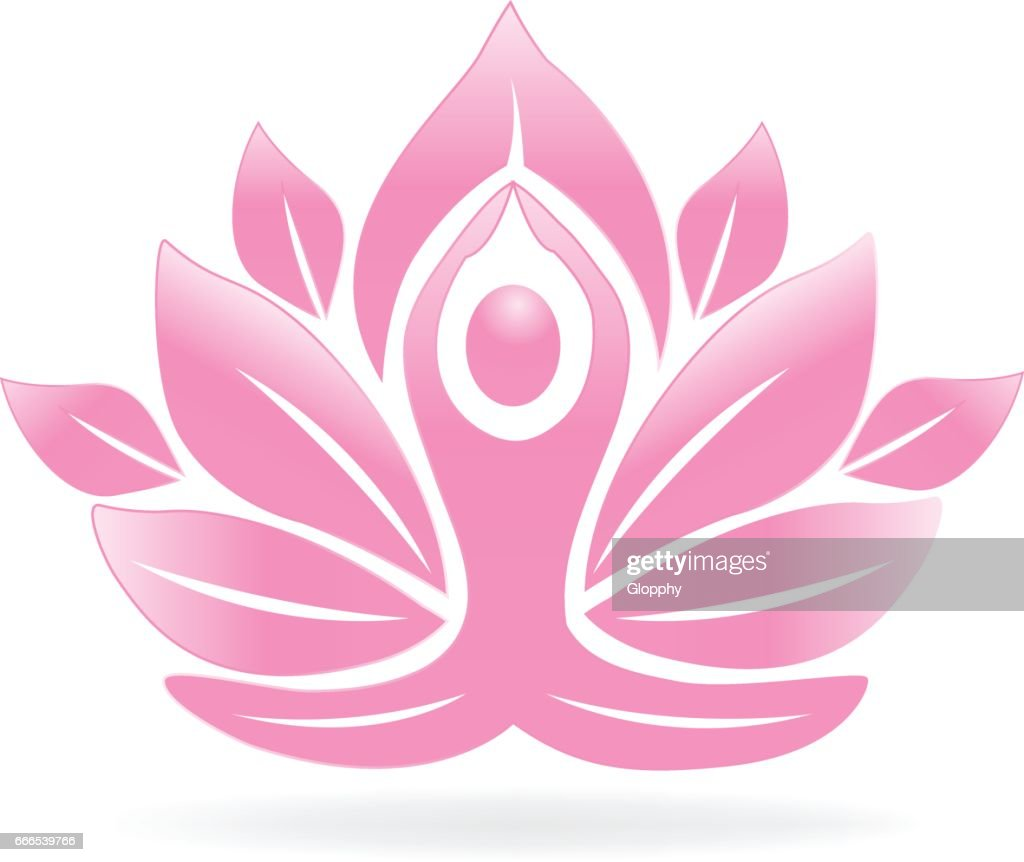 Lotus flower yoga man icon