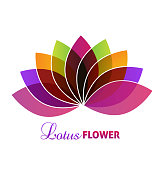 Lotus flower yoga massage design icon
