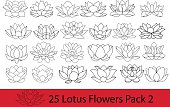 Lotus flowers black and white silhouette, modern flat icons.