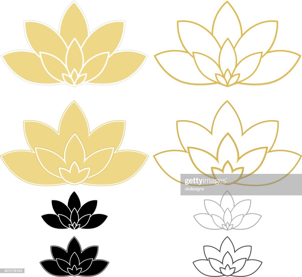 Lotus Flower Line Drawing Vector Free Download : Lotus flowers water lilies set and icons vector art