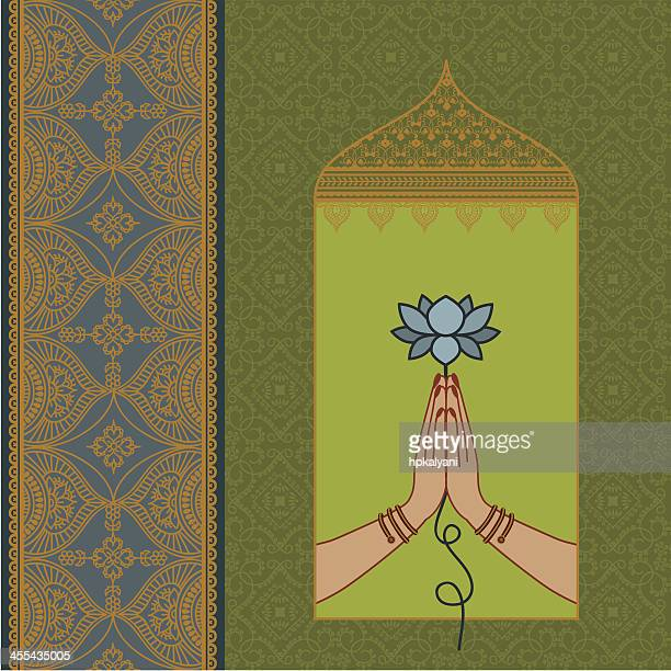 lotus hands - lotus position stock illustrations, clip art, cartoons, & icons