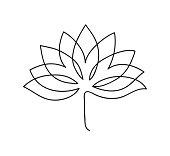 Lotus icon. Logo outline illustration of lotus flower. Black and white hand drawn line art style