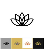 Lotus icon, lotos calm and harmony pictogram