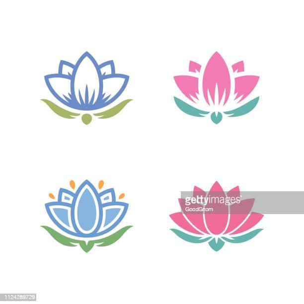 illustrations, cliparts, dessins animés et icônes de jeu d'icônes de lotus - lotus