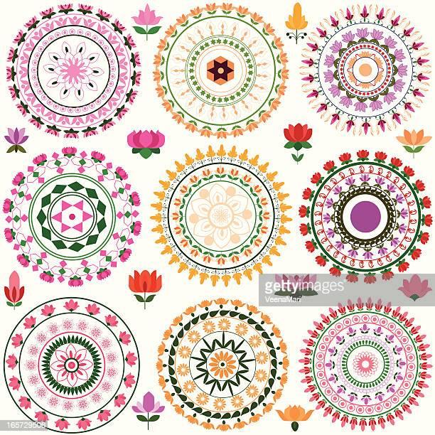 lotus mandala  design - hinauf bewegen stock illustrations