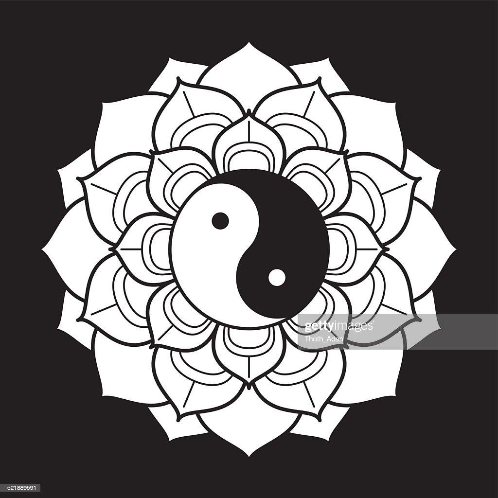 lotus mandala with yin and yang vector art getty images rh gettyimages com Mandala Yin Yang Tumblr Tree Yin Yang Mandala