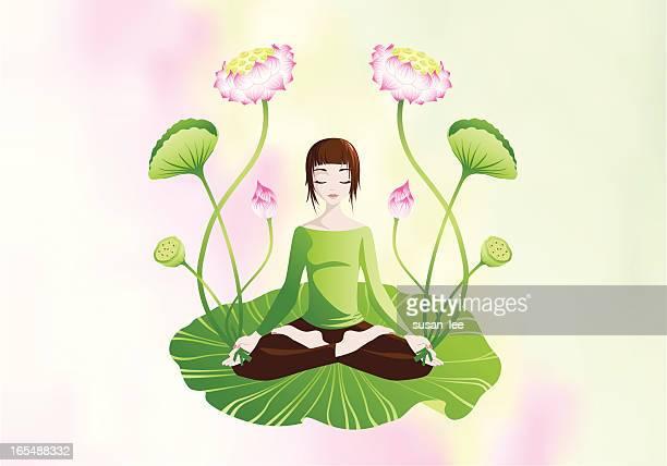 lotus meditation - lotus position stock illustrations