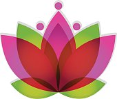 Lotus pink flower icon vector